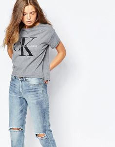 Calvin Klein | Calvin Klein Jeans Cropped Boxy T-Shirt With Logo at ASOS