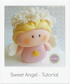 Fondant AngelTopper Tutorial for Ariel Birthday Cake shared by meittes. Get the full tutorial step by step. Fondant Flower Cake, Fondant Cake Toppers, Fondant Icing, Chocolate Fondant, Modeling Chocolate, Fondant Cakes, Fondant Figures Tutorial, Cupcake Tutorial, Cake Topper Tutorial