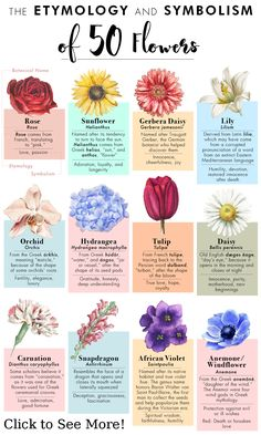 What do flowers symbolize? We created a quick guide to 50 kinds of flowers and t. What do flowers Flower Tattoo Meanings, Meaning Of Flowers Tattoos, Birth Flower Tattoos, Tattoos With Meaning, Flower Names, A Flower, Periannual Flowers, July Flowers, Rare Flowers