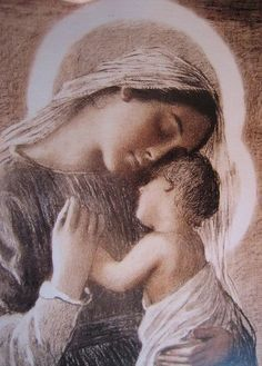 Mother Mary and Jesus Blessed Mother Mary, Divine Mother, Blessed Virgin Mary, Jesus Mother, Religious Pictures, Religious Icons, Religious Art, Images Of Mary, Mother Mary Images
