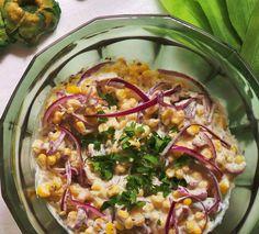 Vegan corn mayo salad.  Ingredients and recipe: http://fetchveg.blogspot.hu/2015/01/do-you-ever-have-urge-for-mayo-corn.html