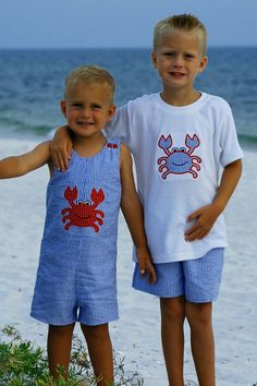 blue seersucker jonjon with crab applique. $38.00, via Etsy.