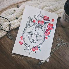 Spring fox 🦊 🌸 #tattoo #tat #tattoosketch #foxsketch #sakura #sakurasketch #watercolor #mandala
