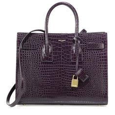 Saint Laurent Sac De Jour Small Croc-Embossed Leather Tote (4,342 CAD) ❤ liked on Polyvore featuring bags, handbags, tote bags, apparel & accessories, handbags tote bags, yves saint laurent handbags, purple tote, handbags totes and yves saint-laurent tote