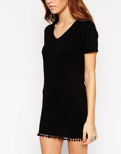 Image 3 ofASOS PETITE T-Shirt Dress with Pom Pom Hem