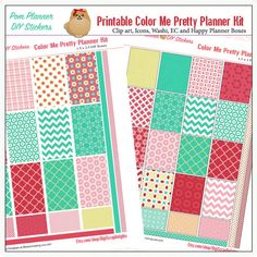 Color Me Pretty Printable Planner Stickers by DigiScrapDelights