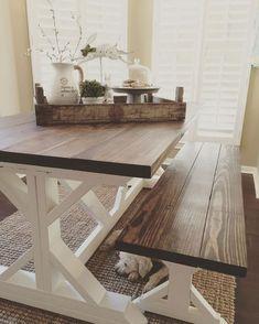 Diy Farmhouse Table And Bench Diy Diy Farmhouse Table Rustic