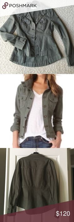 Rag & Bone Chamberlain jacket Army green denim, XS super cute jacket. Longer in back with bottom cuffs that are cute rolled up as well. Two breast pockets and lots of detailing. More fitted than loose. Excellent condition, no flaws, no stains. Rag & Bone Jackets & Coats Jean Jackets