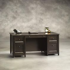 sauder edge water executive desk estate black