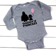 This long-sleeve onesie is perfect for Daddys little Star Wars princess!  ♥ PRODUCT DESCRIPTION ♥  > While the design is shown in black with a bubblegum pink ballon, you may personalize it to your color preferences. See the listing pictures for the color options. ♥ ORDERING ♥  1) Select the onesie size and color in the first dropdown box.  2) Select the balloon color in the 2nd dropdown box. Darth Vader and Leia will be black on the white, gray, mint, light pink, and turquoise onesies…