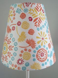 Hand Printed Modern Clip on Lampshade- yellow, blue, red, orange colorful printed lamp shade for table lamp. $55.00, via Etsy.