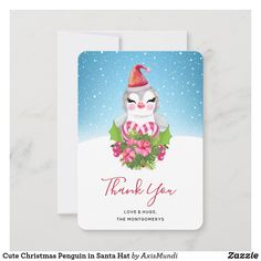 Cute Christmas Penguin in Santa Hat Thank You Card Christmas Greeting Cards, Christmas Greetings, Holiday Cards, Merry Christmas, Christmas Ornaments, Christmas Stuff, Custom Thank You Cards, Santa Hat, Your Cards