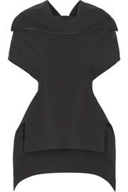 Judith asymmetric stretch-grosgrain top