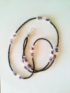 Dark Plum Seed Bead and Stone ID Lanyard by WithMyJeans on Etsy, $12.00