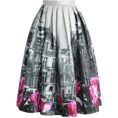 Chicwish Tulip Town Contrast Print Pleated Midi Skirt ($49) ❤ liked on Polyvore featuring skirts, bottoms, gonne, midi skirt, purple, knee length pleated skirt, pleated midi skirt, purple skirt and colorful midi skirts