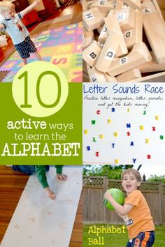 Get kids moving and learning the alphabet! It doesn't have to boring, repetitive, and all about worksheets in order to learn the alphabet. Great active play for learning letters. Preschool Literacy, Early Literacy, Literacy Activities, Toddler Preschool, Preschool Activities, Number Activities, Preschool Names, Literacy Skills, Toddler Fun