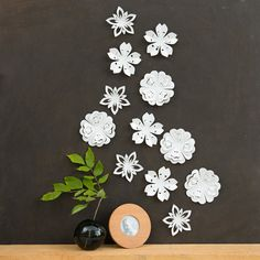 White Flower Wall Decor - White Blossoms, Pop-up Set of 12, wall art