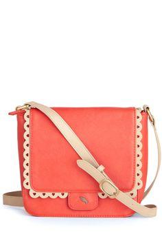 Winsome Wanderer Bag - Pink, Tan / Cream, Buckles, Cutout, Scallops, Vintage Inspired, 50s, Solid, Orange, International Designer