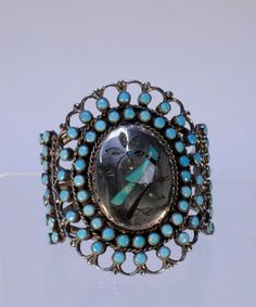 Zuni Cluster Bracelet: Turquoise petit point with Inlay Blue Jay Bird in Silver