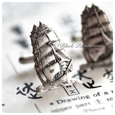 NEW - Seashore CuffLinks - Tall Ship Stamping - Made in USA Components on Etsy, $26.00