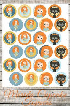 DIY Printable Disney Brave Merida Cupcake Toppers, Birthday Party, Princess Girl Party