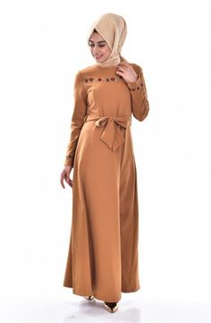 Sefamerve, Nakışlı Kemerli Elbise 1323-05 Hardal Fashion, Moda, Fashion Styles, Fashion Illustrations
