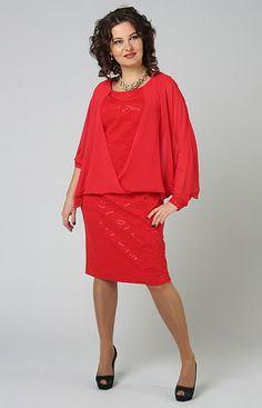 Купить красное платье со свободной накидкой в интернет-магазине (цвет: красный) | СКМ-3531/2