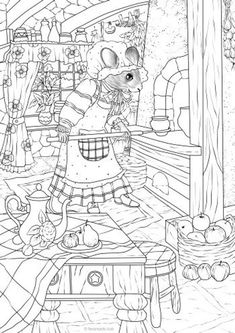 Mouse - Printable Adult Coloring Page from Favoreads (Coloring book pages for adults and kids, Coloring sheets, Colouring designs) Printable Adult Coloring Pages, Cute Coloring Pages, Animal Coloring Pages, Free Coloring, Coloring Sheets, Coloring Books, Kids Coloring, Marker, Etsy