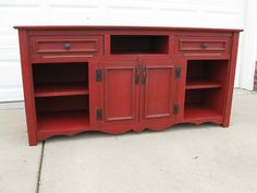 "Custom Wide Screen TV Stand/Cabinet by Muellers Farmhouse, via Flickr Note hinges on ""drawers"" for component access."