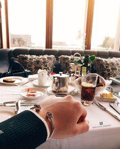 #AshfordCastle tea time | Corinthian Helmet Cuff available at https://marcosdeandrade.com/product/corinthian-helmet-cuff-bracelet/