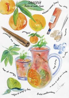 Sangria. Typical spanish drink. Watercolor print. by VioletArtXXI, €15.00