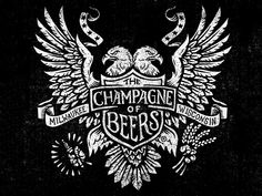 Champagne of Beers - Eagle Woodblock by Derrick Castle