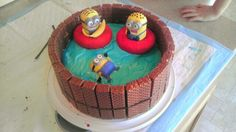 Cake i made for my sons bday McDonalds minions pool party.