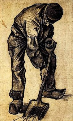 """""""Digger"""".....Vincent van Gogh Drawing, Pencil, brush in black ink, on watercolour paper The Hague: November, 1882.....Van Gogh Museum Amsterdam, The Netherlands, Europe."""