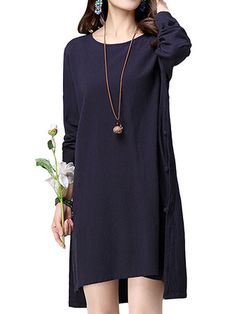 Women Vintage Cotton Loose Pure Color Long Sleeve Dresses
