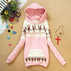 Kawaii styles and cute costumesBunny Sweater Shirt with Hoodies Pink