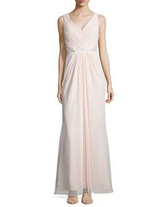Sleeveless Ruched Bodice Lace Back Dress by Monique Lhuillier Bridesmaids at Neiman Marcus.