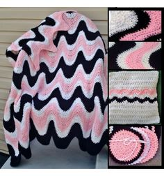 Crochet Pattern Gl PDF File for 3 Color Exaggerated Ripple Afghan, Pillow & Coasters #102