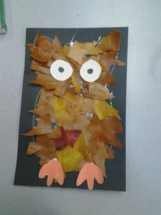 Owl created with leaves