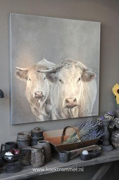 """Hand-painted oil on canvas painting titled the """"White Herd"""" and painted by the Koetrommel Workshop. The painting comes unframed & not stretched. Please allow three weeks for processing & delivery for this painting. Cow Painting, Painting Prints, Cow Pictures, Farm Art, Cow Art, Animal Paintings, Painting Inspiration, Art Projects, Original Paintings"""