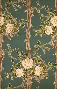 Rose Bush Wallpaper, by Jeffrey & Co. Colour print from wood blocks. 1900.