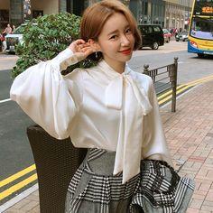 Women Girl Lolita Sweet Shirt Shiny Loose Top Puff Lantern Sleeve Bow Tie Blouse