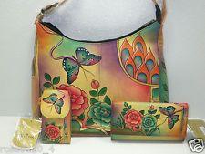 Anuschka Hand-Painted Leather Hobo Handbag /Phone Case/Wallet/Antique Rose NWT