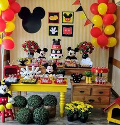 Photos and Videos Mickey Party, Festa Mickey Baby, Mickey Mouse Birthday Decorations, Minnie Y Mickey Mouse, Fiesta Mickey Mouse, Mickey Mouse Clubhouse Birthday Party, Mickey Mouse Parties, Mickey Birthday, Mickey Mouse And Friends