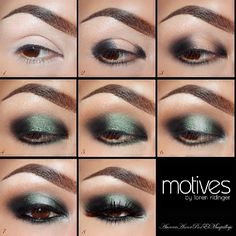 ♥★♥★♥  1. Apply Eye Shadow Base on the eyelids , blending it well *tip.  Use  Primer brush by MOTIVES is easier to distributed  2. Place Khol Eyeliner in ONIX on both  outer sides of the eyelid  and below lower lashes, this will give more depth to the look.  3. Blend the eyeliner out in both sides, for this step you can use same Primer brush or your fingers.  And apply Pressed Eye Shadow in ONIX in the top blending the edges.  4. Place Pressed Eye Shadow in PACIFIC SEA  on the center of the eyelid and below lower lashes since the inner corner up to center of the eye too. *tip. Use Shadow brush by MOTIVES essential kit , in tap motions to create a gradient effect in the edges  5. Blend the edges of the green and black colors on the crease with Pressed Eye Shadow in CAPPUCCINO.  6. Highlight your inner corner and brow bone with Pressed Eye Shadow in CREAM FRESH and place a little amount on the center of the eyelid, above green one. *tip. Use Detail brush by MOTIVES for easier application  7.  Liner  your top lashes and waterline with Gel Eyeliner in LITTLE BLACK DRESS.  8.  Add false lashes # 112 by MOTIVES and apply Lustrafy High Definition Mascara in ONIX in top and lower lashes. @motivescosmetics  @Loren Cline Cline Ridinger  #auroramakeup  #motivesbeauty  #motivescosmetics - @MaquillateconAurora GB- #webstagram