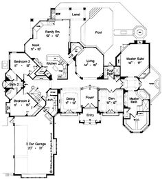 Floor Plans AFLFPW22746 - 1 Story Chateauesque Home with 3 Bedrooms, 3 Bathrooms and 3,064 total Square Feet