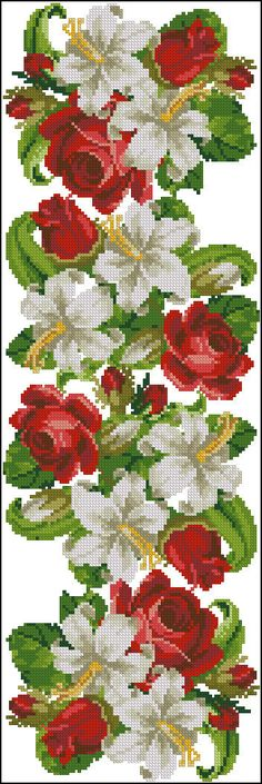 Butterfly Cross Stitch, Cross Stitch Rose, Cross Stitch Flowers, Cross Stitching, Cross Stitch Embroidery, Cross Stitch Designs, Cross Stitch Patterns, Black And White Flower Tattoo, Seed Bead Flowers
