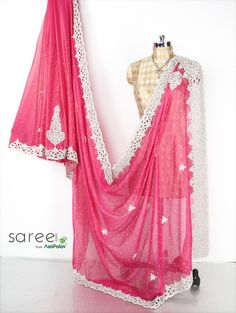 Buy Pink Chiffon Saree with Diamond and Pearl Work Online in USA, UK - Saree.com