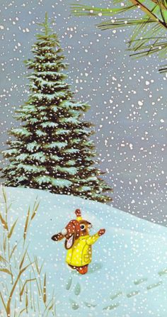 "one of my kids' favorites! from ""I Am a Bunny"" by Ole Risom + Richard Scarry // via Vintage Kids' Books My Kid Loves: I Am a Bunny Vintage Christmas, Christmas Diy, Christmas Decorations, Christmas Animals, Merry Christmas, Baby Girl Snowsuit, Baby In Snow, Richard Scarry, Vintage Children's Books"