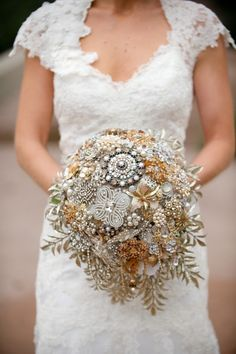 jeweled pearl & crystal vintage cascading brooch bouquet